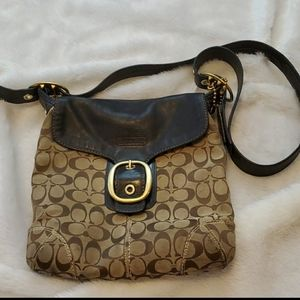 Authentic Coach signature crossbody with leather